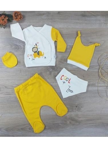 POKY Nonna Baby-5552 Erkek Bebek Yenidoğan Cool Zoo Detaylı %100 Pamuklu 5'Li Hastane Çıkışı Renkli
